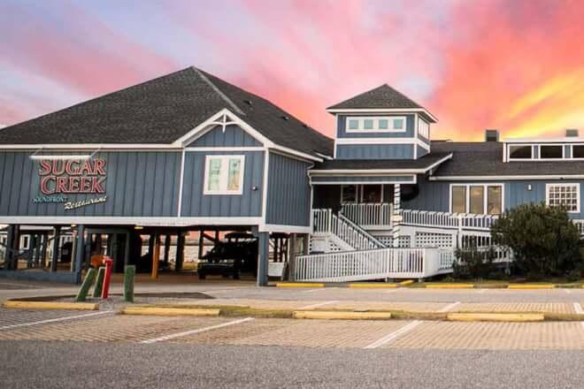 Sugar Creek Seafood Restaurant at sunset